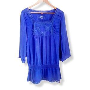 ESPRIT Blue Smocked Waist Short Dress